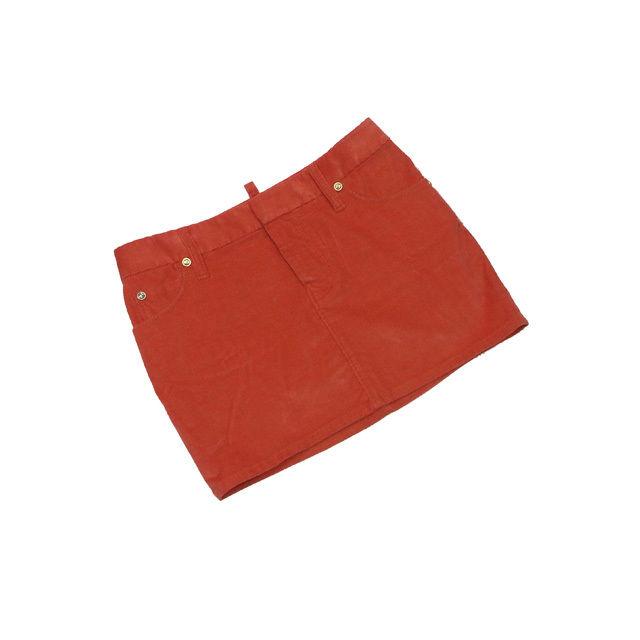 【中古】 ディースクエアード DSQUARED2 スカート マイクロミニ丈 レディース ♯40サイズ ダイヤ柄 レッドオレンジ×ゴールド L2095