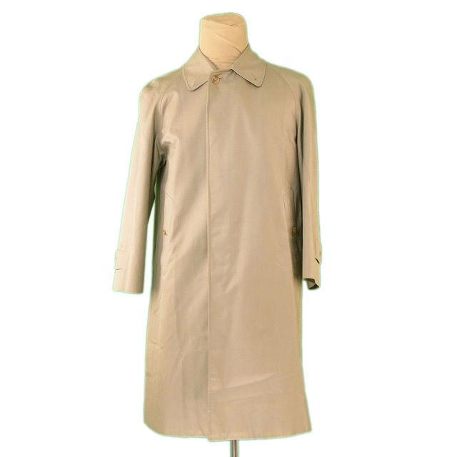 【中古】 【送料無料】 バーバリー BURBERRY コート ロング メンズ シングル ステンカラー カーキ 綿/55%ポリエステル/45%(胴裏)ポリエステル&綿(袖裏)ポリエステル 人気 L2228
