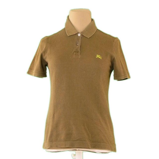 【中古】 バーバリー BURBERRY ポロシャツ レディース ♯1サイズ カーキ×グリーン 綿 100% L2239