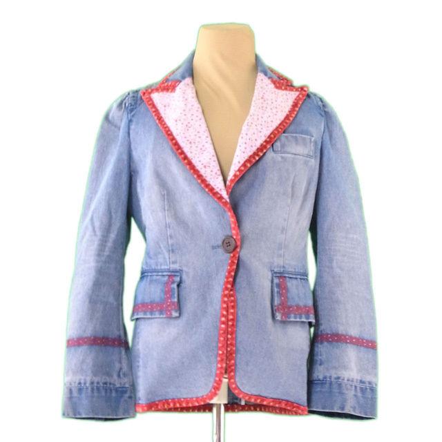 【中古】 マークジェイコブス ジャケット テーラード ♯4サイズ デニム ウォッシュブルー×レッド系 綿100% MARC JACOBS L2297