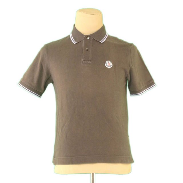 68ab4889 Monk rail MONCLER polo shirt short sleeves men ♯ small size logo emblem  khaki X blue ...