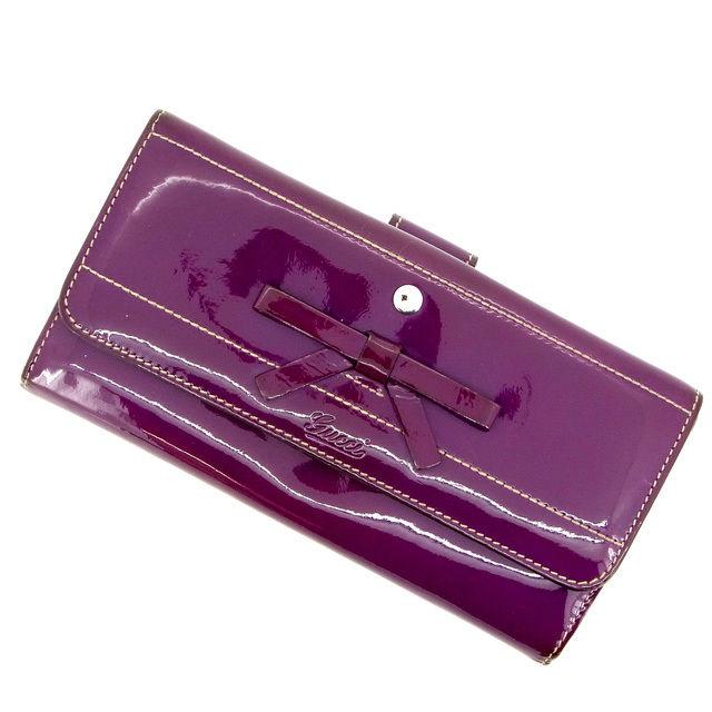 【中古】 【送料無料】 グッチ 長財布 /Wホック レディース パープル Gucci M1028 .