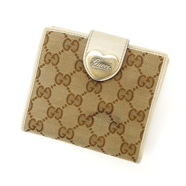 【中古】 【送料無料】 グッチ Wホック財布 レディース GGキャンバス ベージュ×ライトブラウン Gucci M1222 .