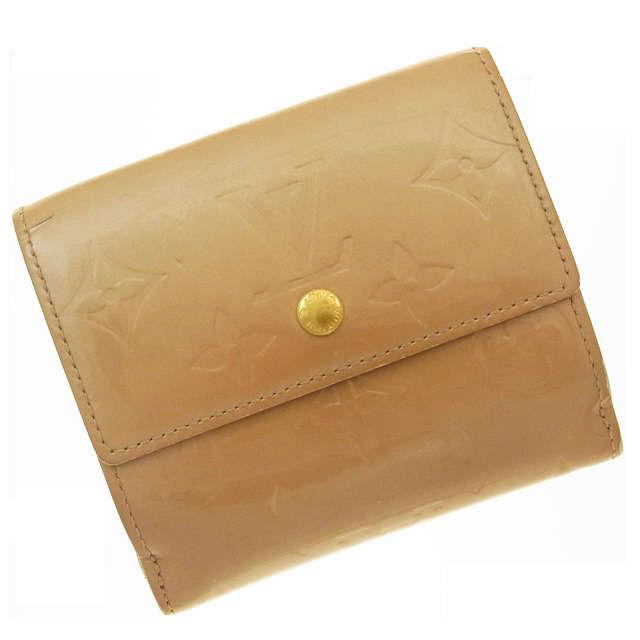 【中古】 ルイヴィトン Wホック財布 さいふ ヴェルニ ベージュ Louis Vuitton ホックサイフ ホック財布 さいふ 財布 さいふ サイフ 財布 さいふ ユニセックス 小物 迅速発送 在庫処分 1点物 M227