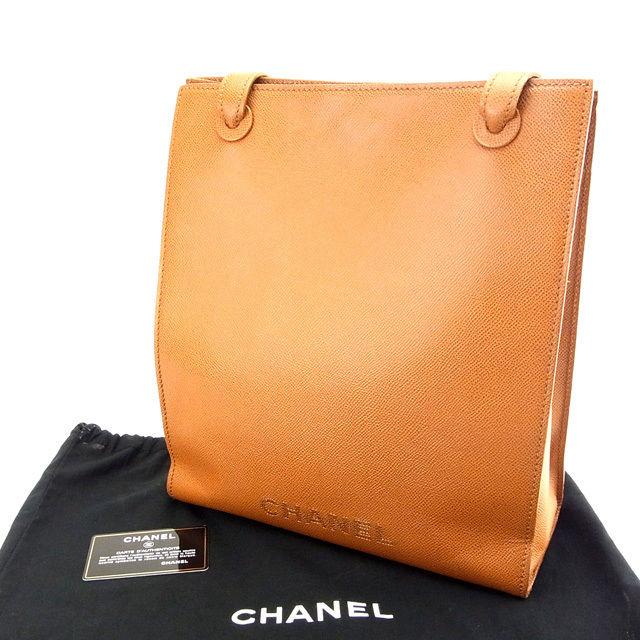 【中古】 【送料無料】 シャネル トートバッグ /A4可 レディース キャビアスキン ライトブラウン Chanel M957 .