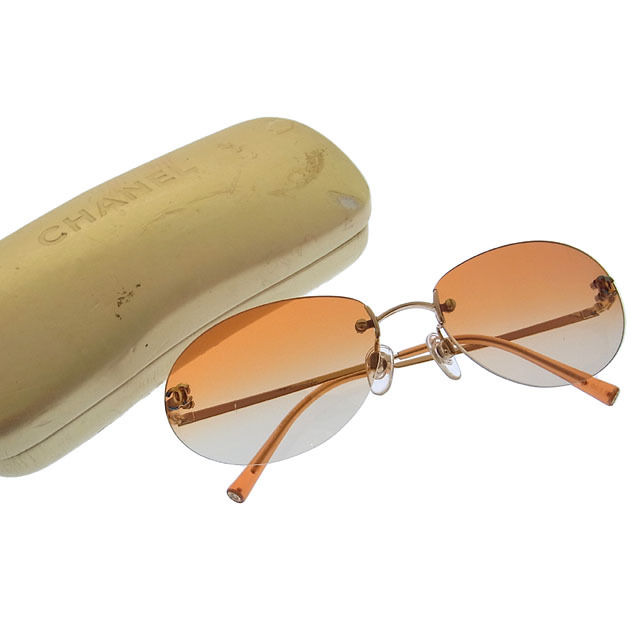 74268bf53d Chanel CHANEL sunglasses men s possible here mark clear orange X gold  stainless steel X plastic (correspondence) (quality goods) N163