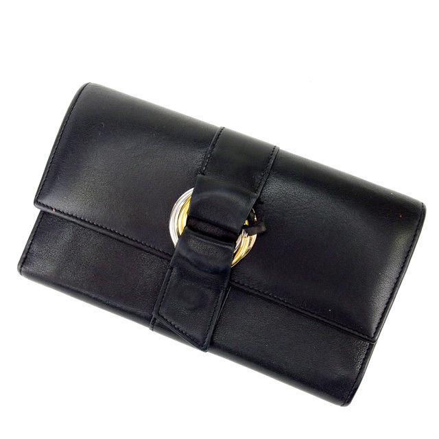 【中古】 カルティエ 三つ折り財布 さいふ 長財布 さいふ トリニティ ブラックホワイト Cartier 三つ折りサイフ サイフ 財布 さいふ 折りタタミ 三つ折り財布 さいふ 財布 さいふ ユニセックス 小物 1点物 N184