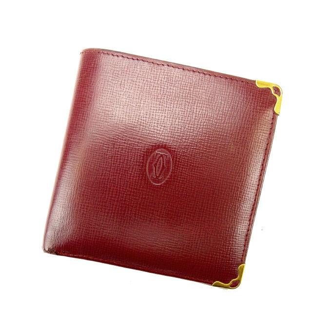 【中古】 【送料無料】 カルティエ Cartier 二つ折り財布 メンズ可 マストライン ボルドー レザー (あす楽対応)良品 人気 N218