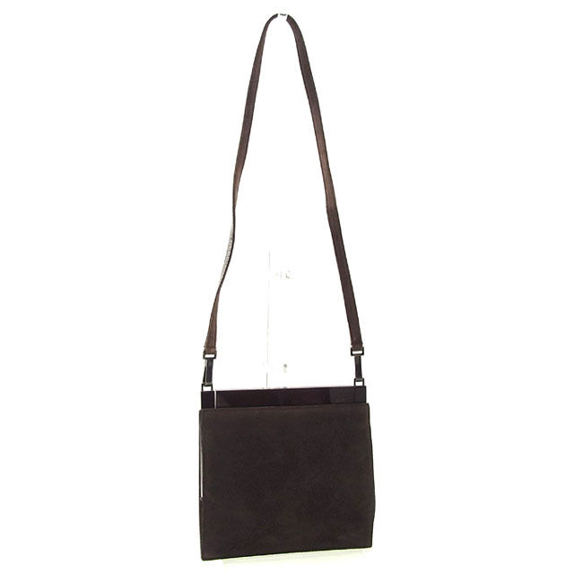 a0188c126b2b Gucci GUCCI shoulder bag one shoulder mini-size Lady s square form logo  brown suede (correspondence) deep-discount sale N239