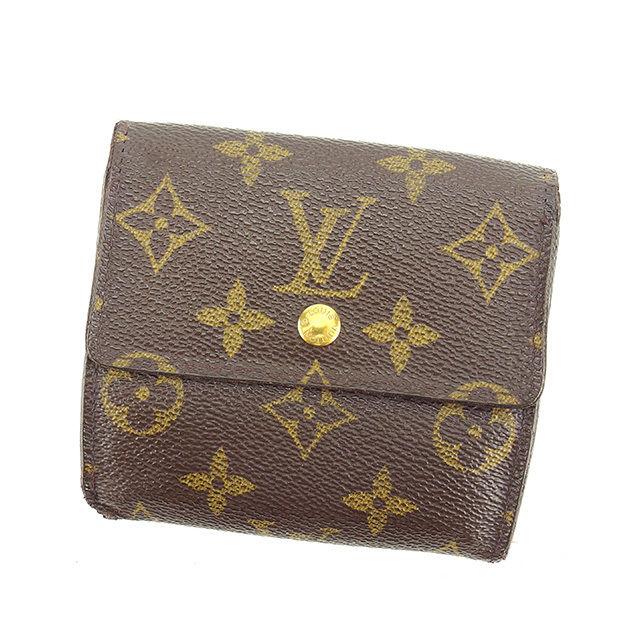 【中古】 【送料無料】 ルイ ヴィトン Louis Vuitton Wホック財布 三つ折り財布 メンズ可 ポルトモネビエカルトクレディ モノグラム ブラウン モノグラムキャンバス 人気 P506 .