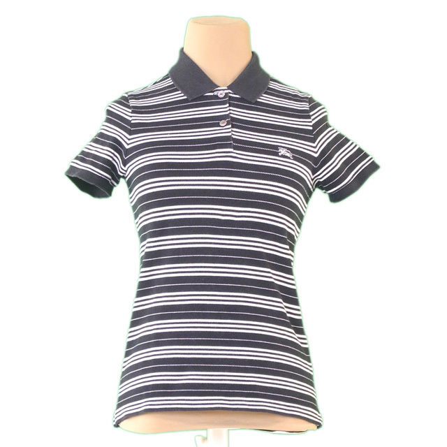 【中古】 バーバリー BURBERRY ポロシャツ ホース刺繍 レディース ♯1サイズ ブラック×ホワイト 綿 100% P709