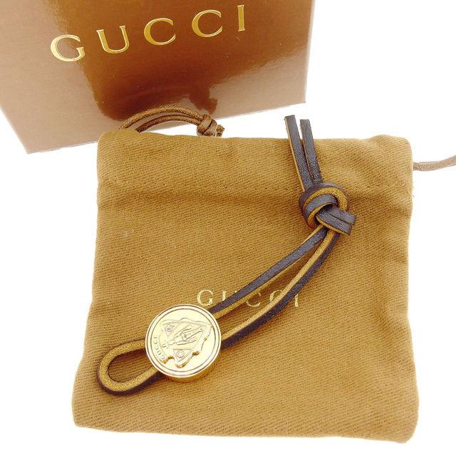【中古】 【送料無料】 グッチ キーホルダー チャーム ゴールド×ブラウン ゴールド金具×レザー Gucci Q256 .