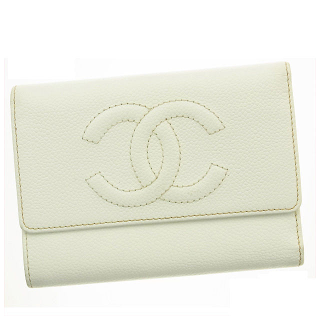 【中古】 【送料無料】 シャネル 三つ折り財布 レディース ココマーク ホワイト Chanel T10637 .