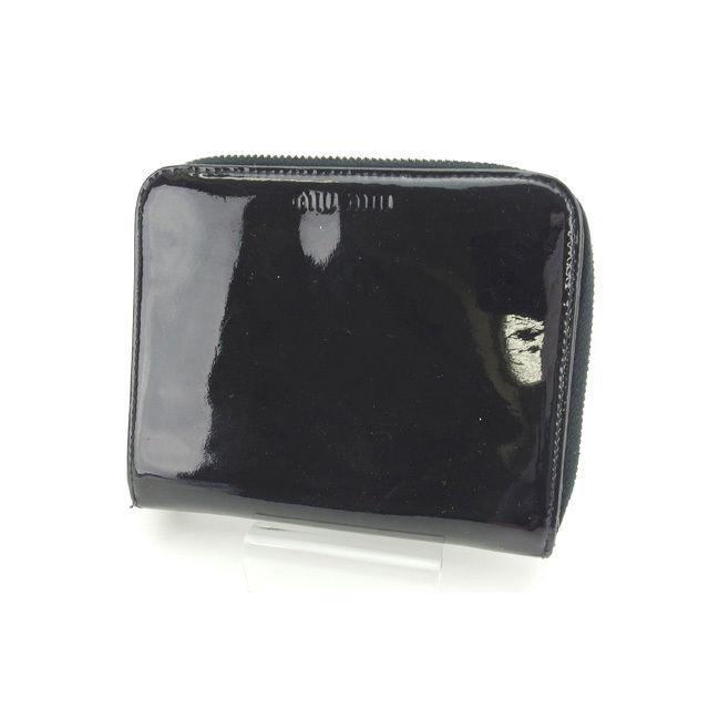 【中古】 【送料無料】 ミュウミュウ miumiu 二つ折り財布 ラウンドファスナー レディース ロゴ ブラック×シルバー エナメルレザー (あす楽対応) S172s .