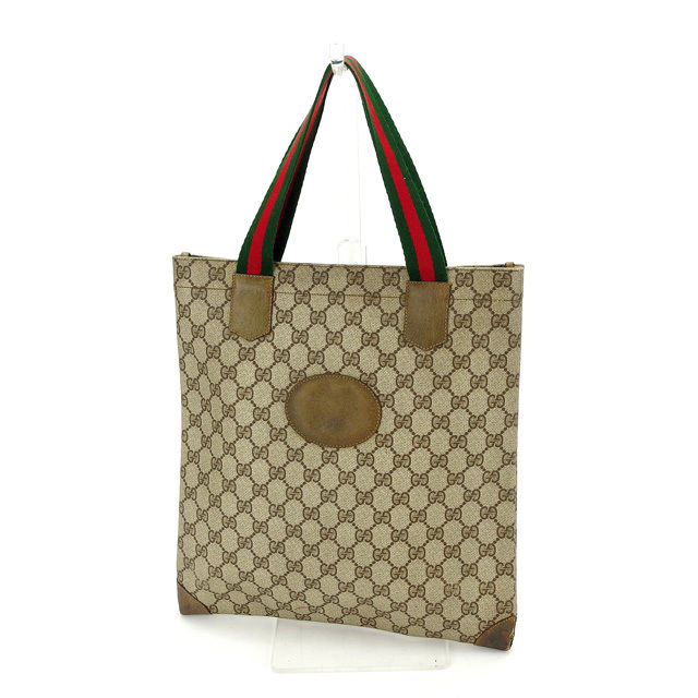 PVC X leather (correspondence) of Gucci GUCCI tote bag handbag man and  woman combined use vintage GG plus beige X Brown line deep-discount sale  S256 292e02a9f5b4d