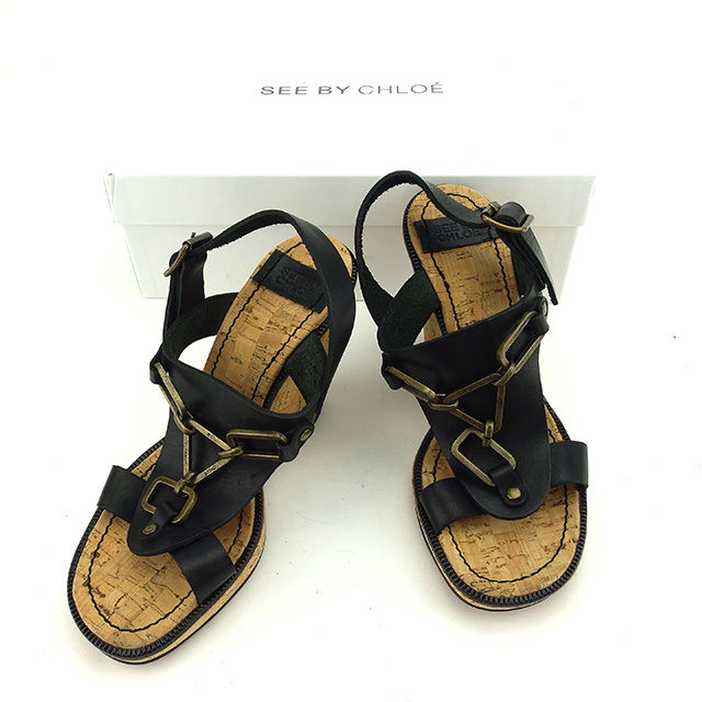 【中古】 【送料無料】 シーバイ クロエ SEE BY CHLOE サンダル シューズ 靴 レディース ♯37ハーフ コルクウェッジ ブラック×アンティークゴールド系 レザー×コルク 良品 S431
