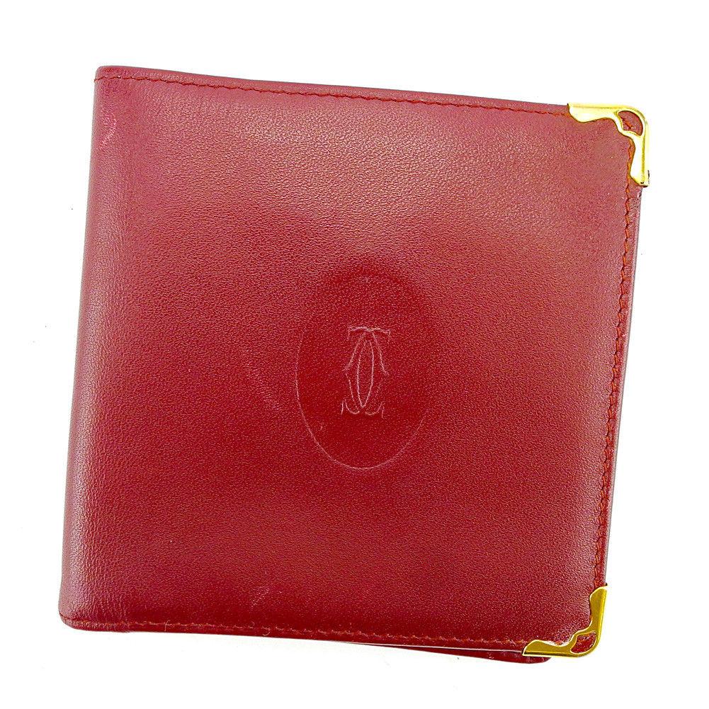 【中古】 【送料無料】 カルティエ 二つ折り 財布 レディース メンズ 可 マストライン ボルドー×ゴールド レザー Cartier S567 .