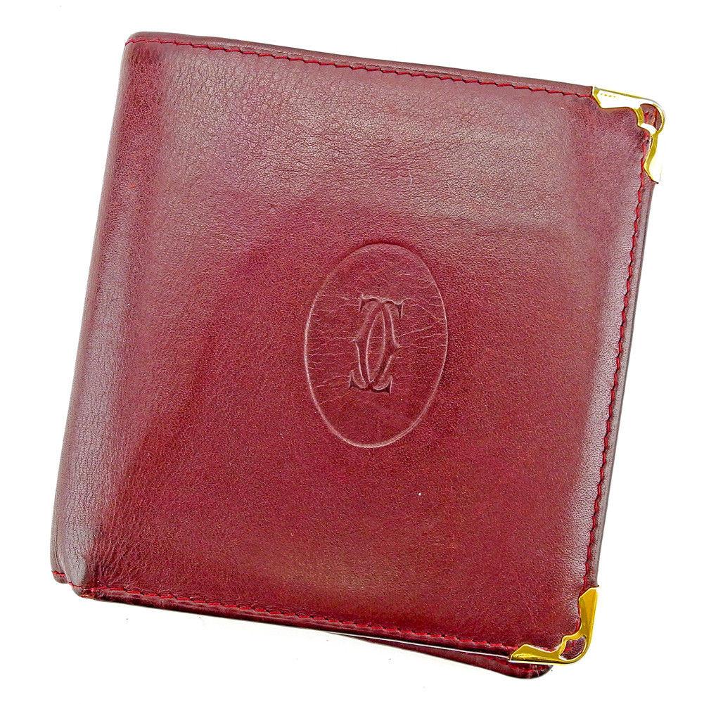 【中古】 【送料無料】 カルティエ 二つ折り 財布 レディース メンズ 可 マストライン ボルドー×ゴールド レザー Cartier S590 .