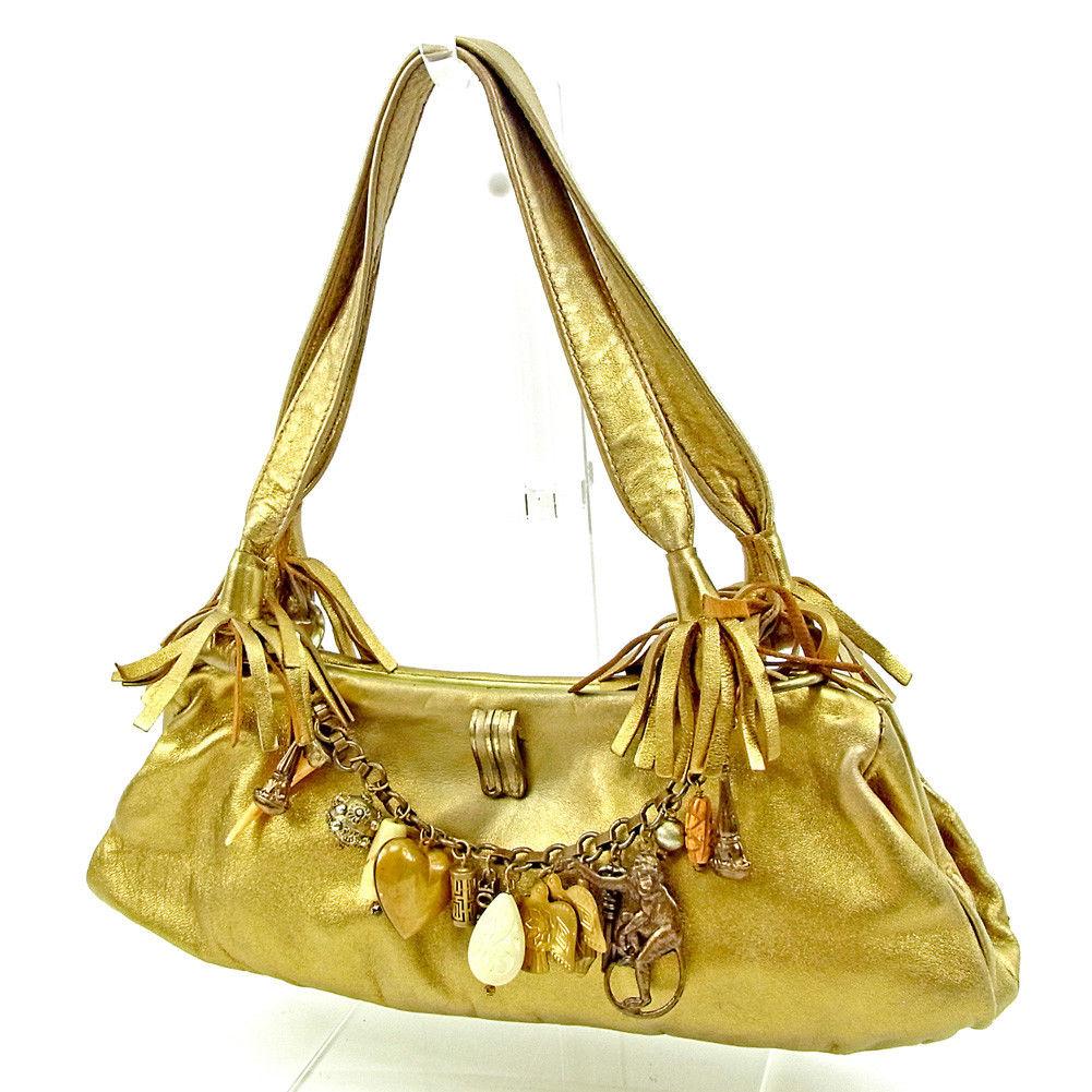 【スーパーセール】 【20%オフ】 【中古】 クロエ ハンドバッグ がま口 ゴールド レザー Chloe バック 手持ちバッグ ファッション ブランド ブランドバッグ 収納 人気 1点物 【送料無料】 T15452