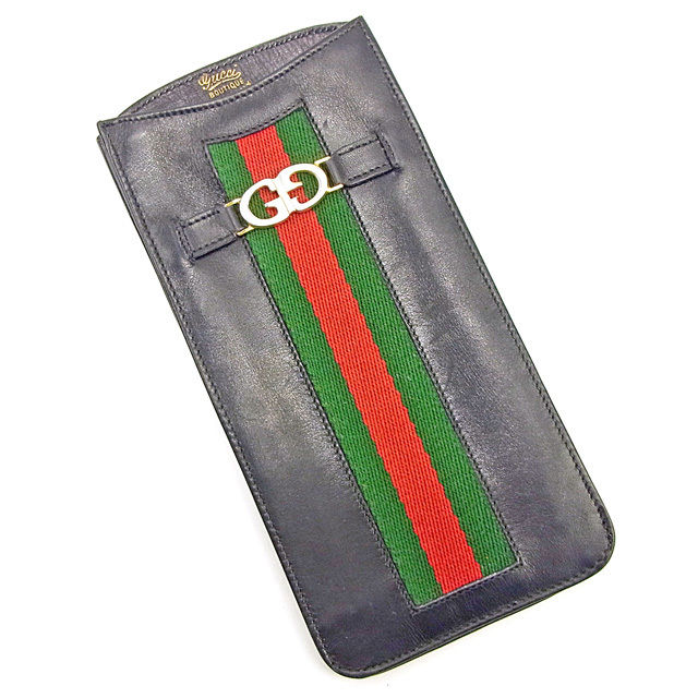 3fd4c88cbb7 Gucci GUCCI glasses case sunglasses case men s possible sherry line black X  green X red system leather vintage popularity T027