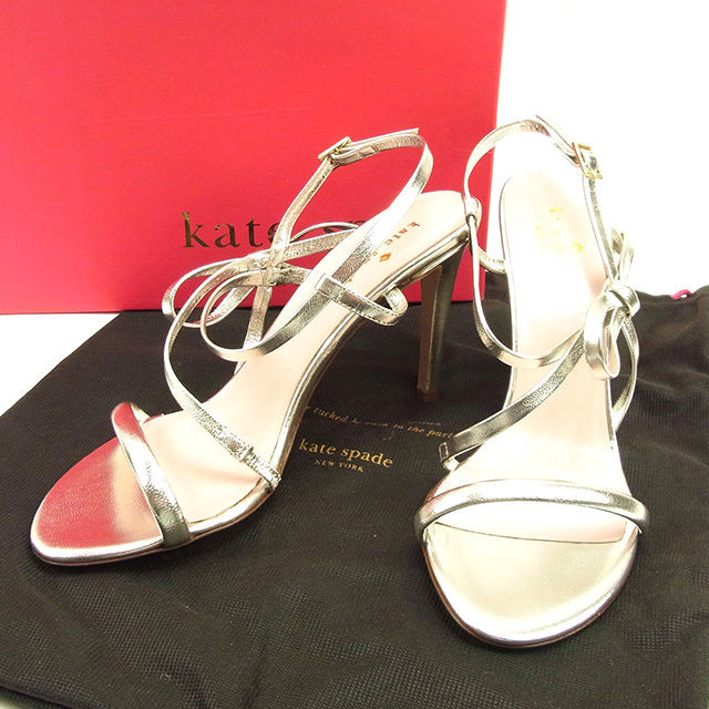 854713fb5df Kate spade kate spade sandals shoes shoes Lady s ♯ 6B high-heeled shoes  ribbon motif silver X gold leather-free article T070.