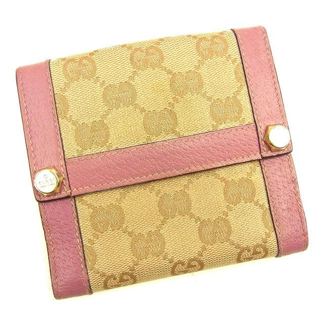 390cb3cd5a22 【中古】 【送料無料】 グッチ Gucci Wホック財布 二つ折り財布 メンズ可 GGキャンバス ピンク×ベージュ キャンバス×レザー 人気  T1068-レディース財布