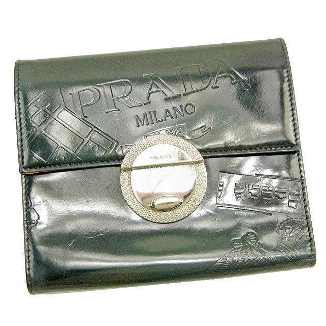 d68844c8 Prada PRADA three fold wallet wallet lady's men's possible model push green  X yellow patent leather popularity sale T1223