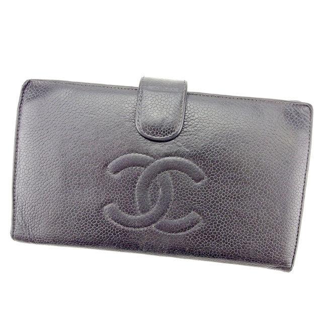 【中古】 【送料無料】 シャネル 長財布 がま口財布 メンズ可 ココマーク ブラック×ゴールド キャビアスキン Chanel T1397 .