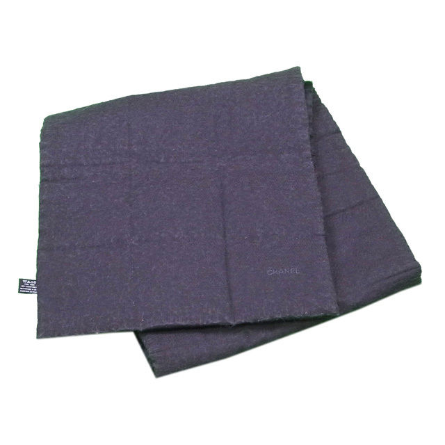 【中古】 【送料無料】 シャネル マフラー ポケット付き メンズ可 チョコバー リバーシブル グレー×ブラック SILK/48%WOOL/34%ANGORA/18% Chanel T144 .