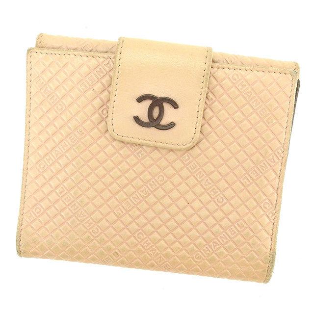 【中古】 【送料無料】 シャネル Wホック財布 二つ折り 財布 レディース ピンク×ブラウン レザ- Chanel T1617 .