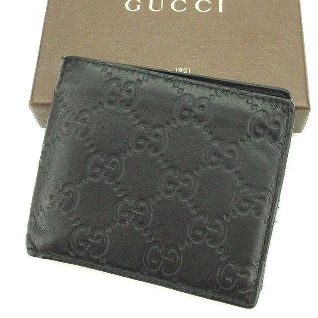 【中古】 【送料無料】 グッチ Gucci 二つ折り札入れ 二つ折り財布 レディース メンズ 可 グッチシマ ブラック レザー 人気 T2106 .
