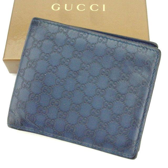 【中古】 グッチ Gucci 二つ折り札入れ 二つ折り財布 レディース メンズ 可 ブルー レザー T2107