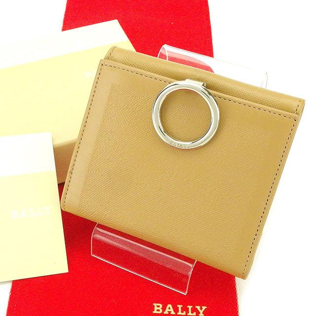 【中古】 【送料無料】 バリー Bally Wホック財布 二つ折り財布 レディース メンズ 可 ベージュ レザー 美品 T2160 .