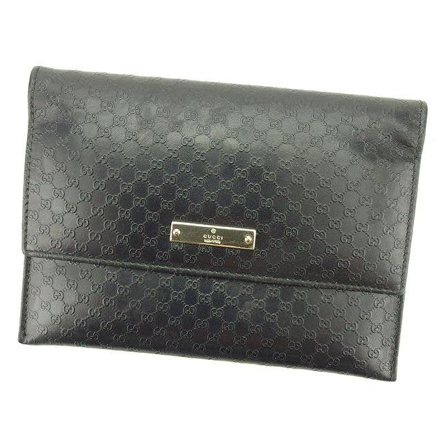 送料無料 ブランド バック 財布 キャンペーンもお見逃しなく プレゼント ギフト 夏 中古 グッチ ブラック Gucci マイクロGG 二つ折り財布 T2184 レザー . パスポートケース 使い勝手の良い