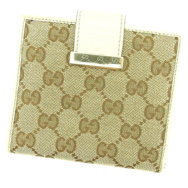 【中古】 【送料無料】 グッチ Wホック財布 二つ折り財布 レディース メンズ 可 GGキャンバス ホワイト×ベージュ キャンバス×レザー Gucci T2217