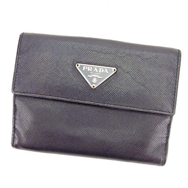【中古】 【送料無料】 プラダ Wホック財布 財布 二つ折り財布 レディース メンズ 可 トライアングルロゴ ブラック×シルバー系 サフィアーノレザー Prada T2309 .