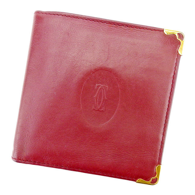 【中古】 【送料無料】 カルティエ 二つ折り財布 財布 レディース メンズ 可 マストライン ボルドー×ゴールド レザー Cartier T2323 .