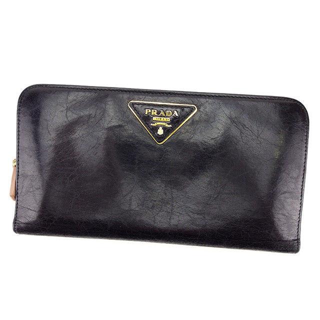 【中古】 【送料無料】 プラダ PRADA 長財布 ファスナー付き 財布 レディース ブラック レザー 人気 良品 T2358