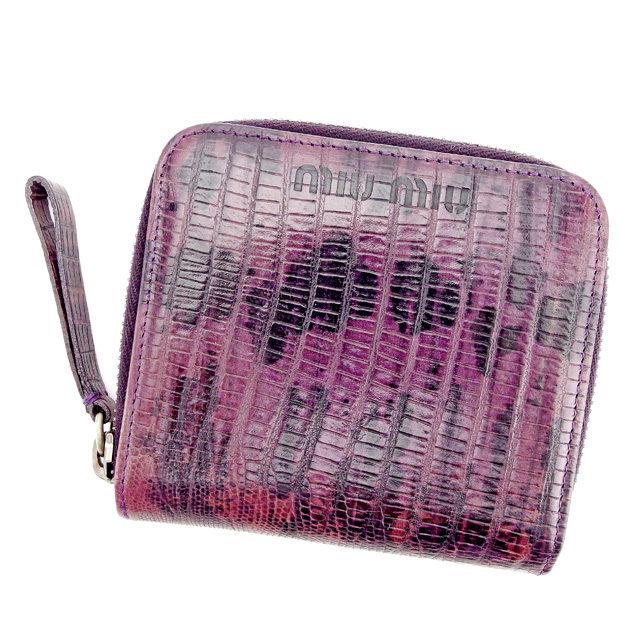 【中古】 【送料無料】 ミュウミュウ miu miu 二つ折り財布 財布 ラウンドファスナー レディース メンズ 可 パイソン調 パープル×ブラック系 型押しレザー 良品 T2528