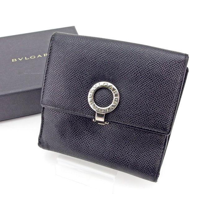 【中古】 【送料無料】 ブルガリ Wホック財布 財布 二つ折り財布 レディース メンズ 可 ブルガリブルガリ ブラック×シルバー×ブルー レザー Bvlgari T2531 .
