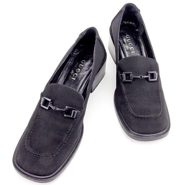 22f22c717 Gucci GUCCI loafer shoes shoes Lady's ♯ 6B square toe hose bit black canvas  X leather ...