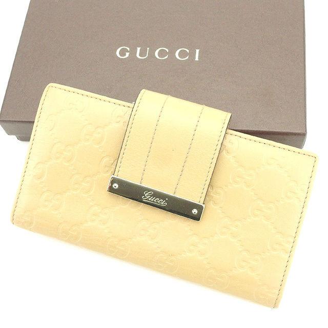 【中古】 【送料無料】 グッチ 長財布 二つ折り財布 財布 メンズ可 グッチシマ ベージュ×ゴールド レザー Gucci T2687 .