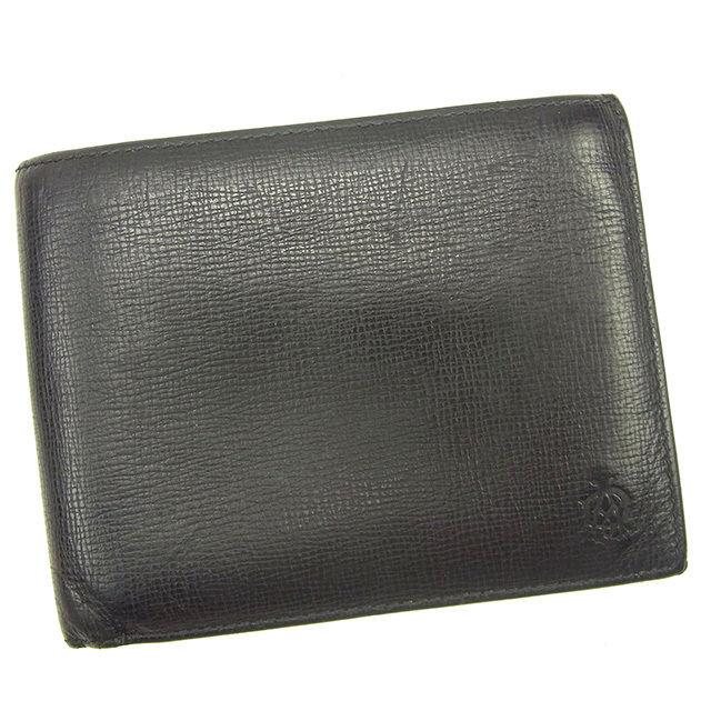 【中古】 【送料無料】 ダンヒル 二つ折り財布 メンズ ADロゴモチーフ ブラック×ボルドー レザー Dunhill T270 .