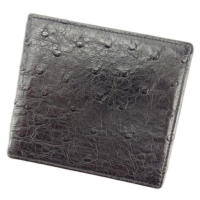 【中古】 【送料無料】 グッチ 二つ折り 札入れ 二つ折り 財布 レディース メンズ 可 オーストリッチ ブラック レザー Gucci T2762 .