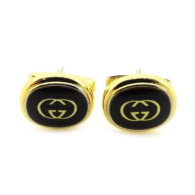 【中古】 【送料無料】 グッチ カフス メンズ インターロッキング ブラック×ゴールド GP Gucci T2770 .