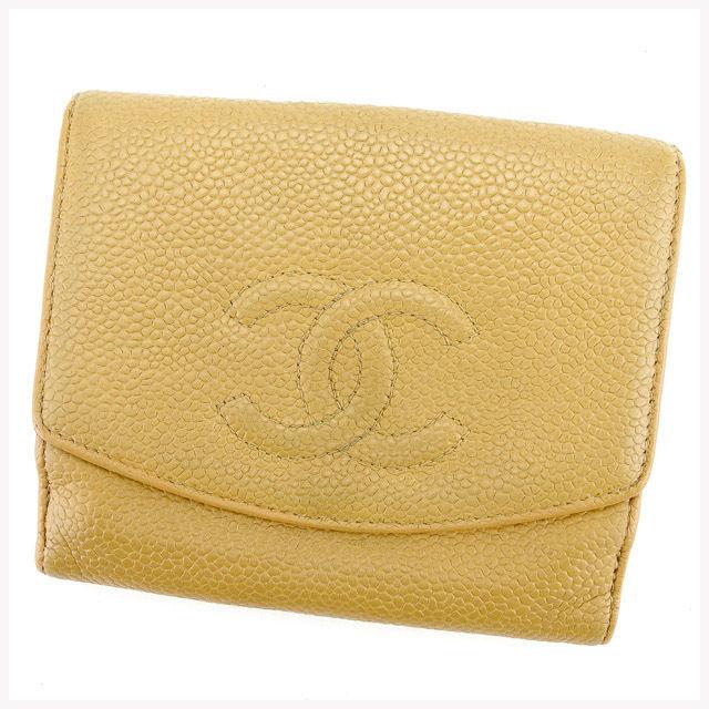 【中古】 【送料無料】 シャネル Wホック財布 二つ折り財布 レディース メンズ 可 キャビアスキン×ココマーク ベージュ レザー Chanel T302 .