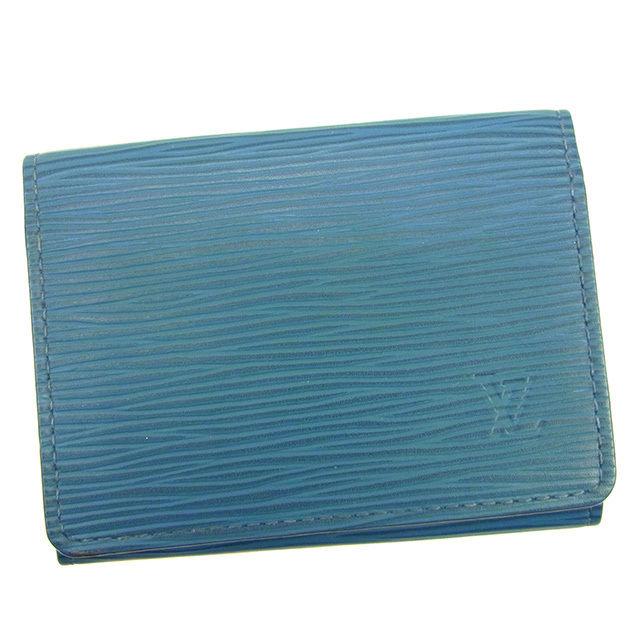 【中古】 ルイ ヴィトン Louis Vuitton カードケース 名刺入れ ブルーセレスト アンヴェロップカルトドゥヴィジット エピ メンズ可 T316s
