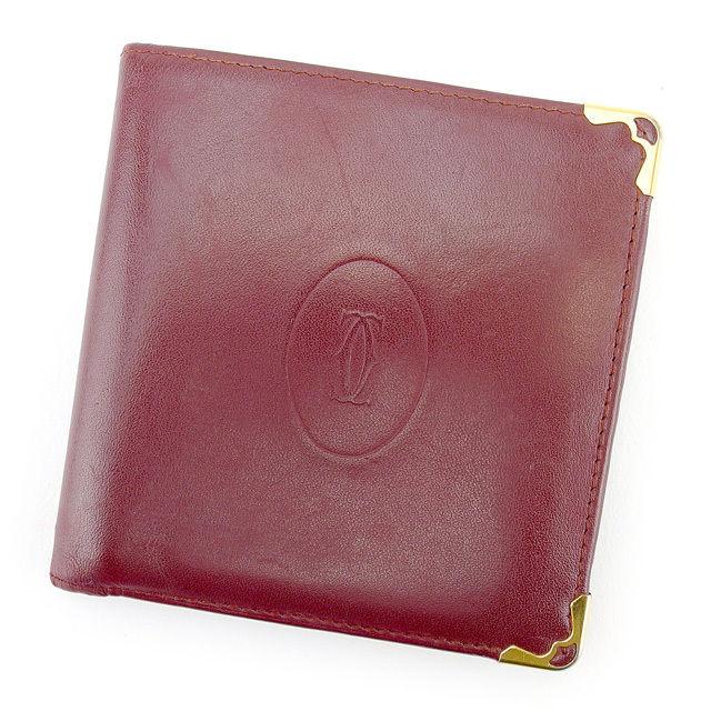 【中古】 【送料無料】 カルティエ 二つ折り財布 メンズ可 マストライン ボルドー レザー Cartier T743 .