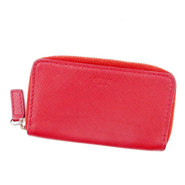 【中古】 【送料無料】 セリーヌ Celine コインケース 財布 メンズ可 レッド レザー 美品 T2914