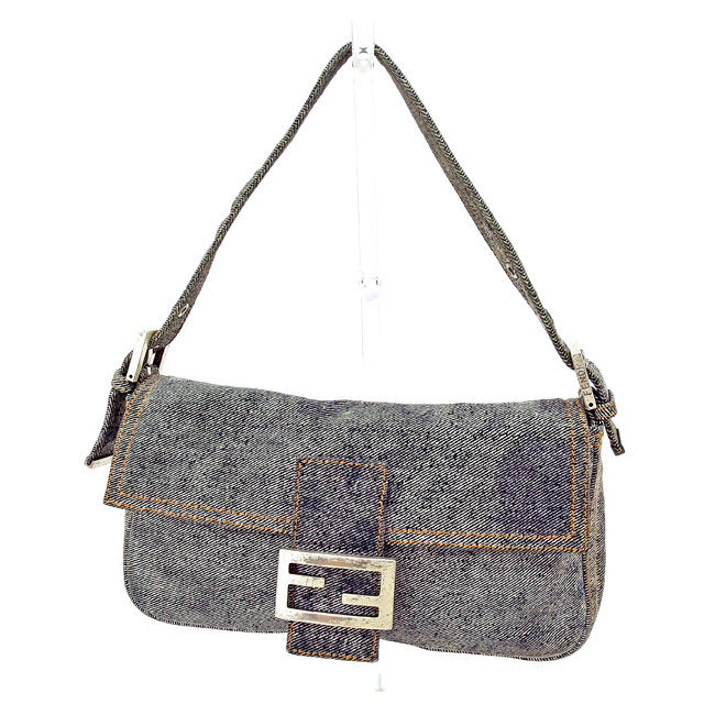 812e0aaecbd Fendi FENDI shoulder bag handbag bag men's possible マンマバケットデニムネイビー X silver  canvas X silver material popularity T2925.